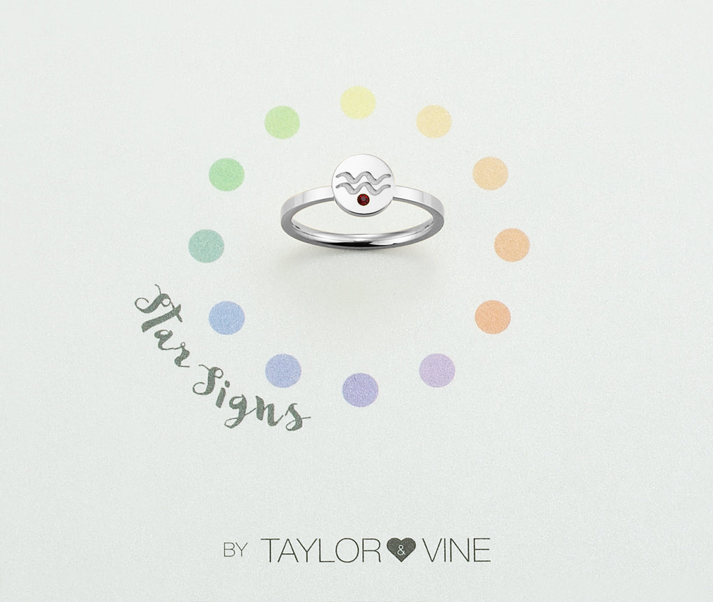 Taylor and Vine Star Signs Aquarius Silver Ring with Birth Stone