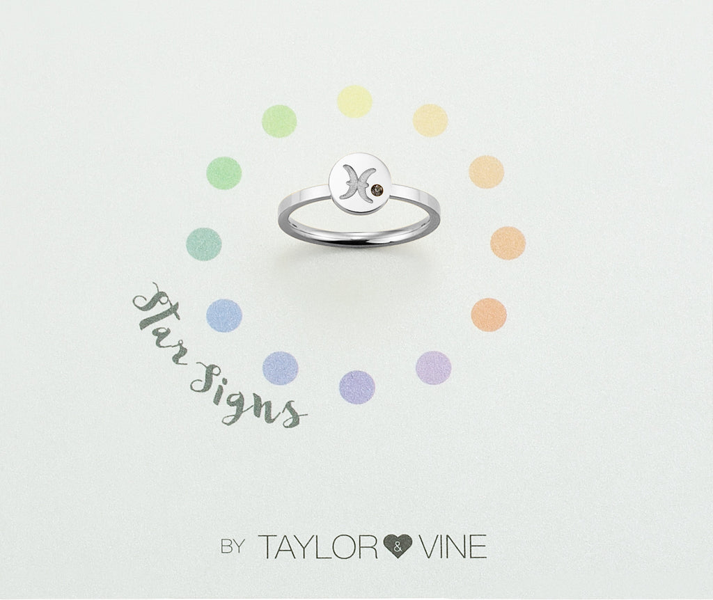 Taylor and Vine Star Signs Pisces Silver Ring with Birth Stone