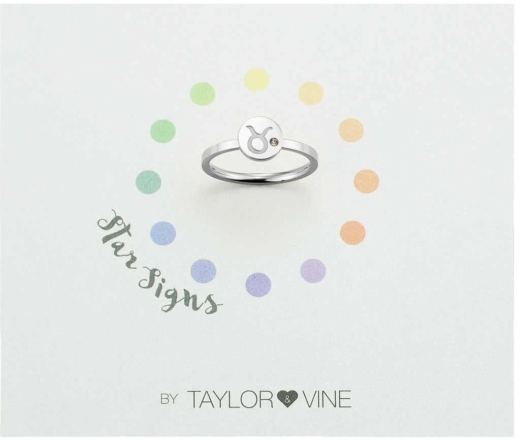 Taylor and Vine Star Signs Taurus Silver Ring with Birth Stone