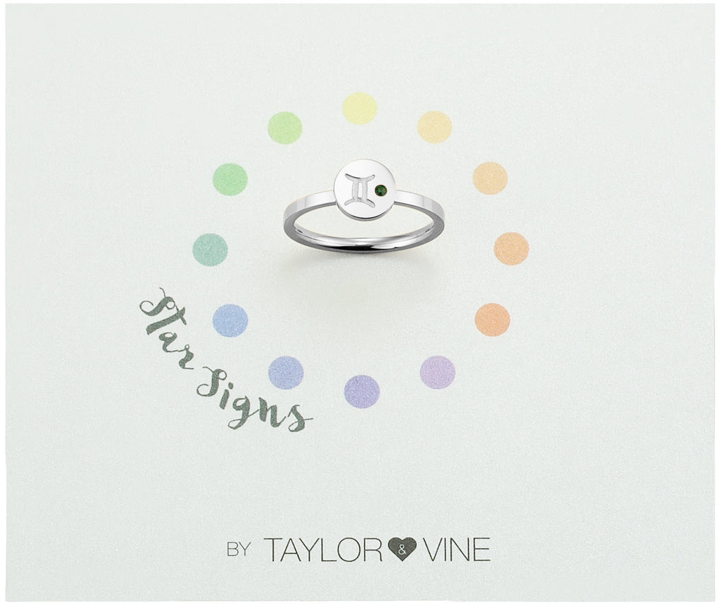 Taylor and Vine Star Signs Gemini Silver Ring with Birth Stone