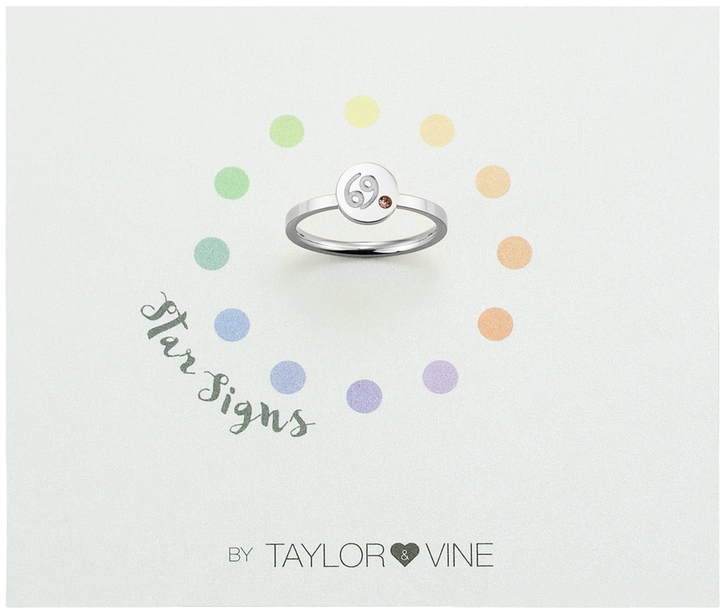Taylor and Vine Star Signs Cancer Silver Ring with Birth Stone
