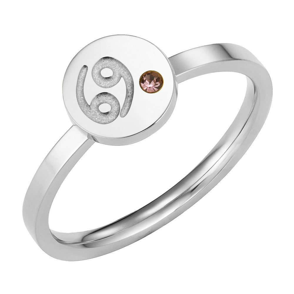 Taylor and Vine Star Signs Cancer Silver Ring with Birth Stone 1