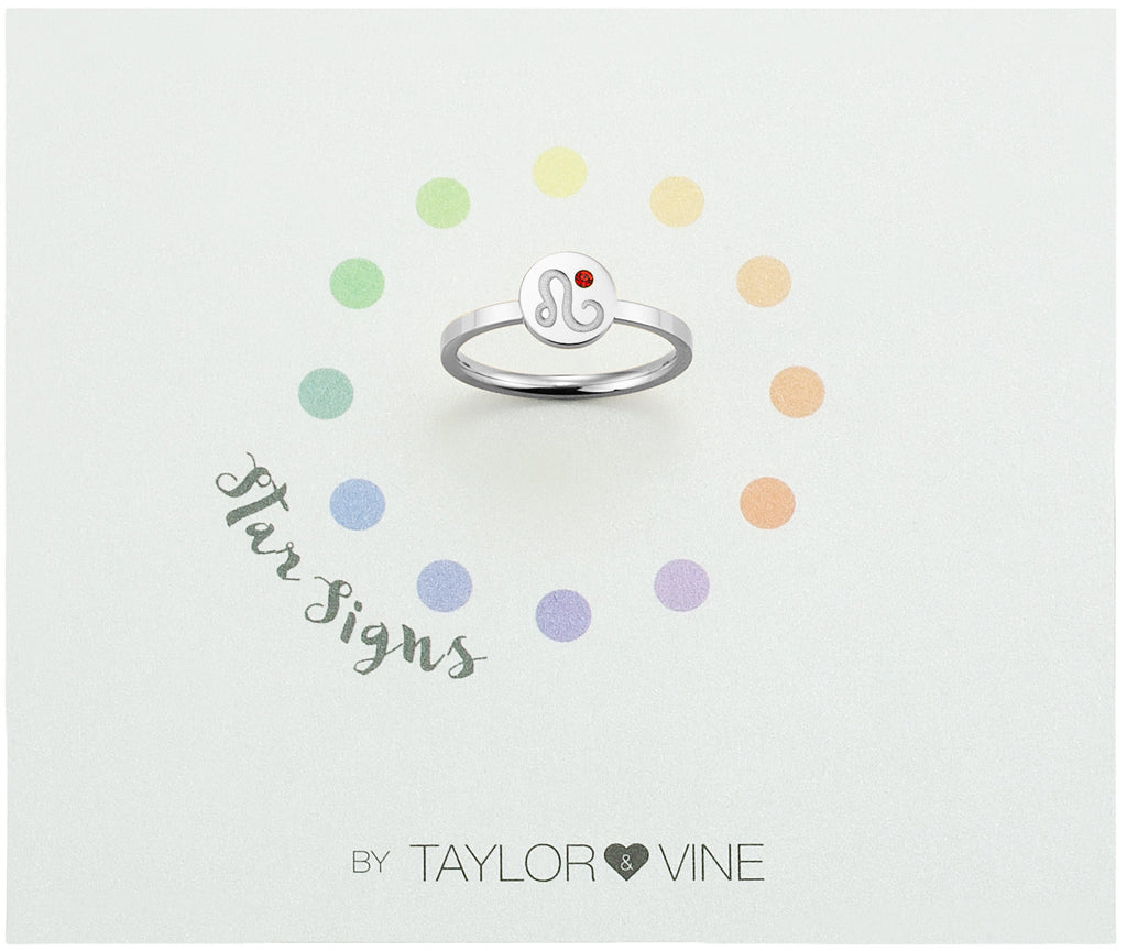 Taylor and Vine Star Signs Leo Silver Ring with Birth Stone