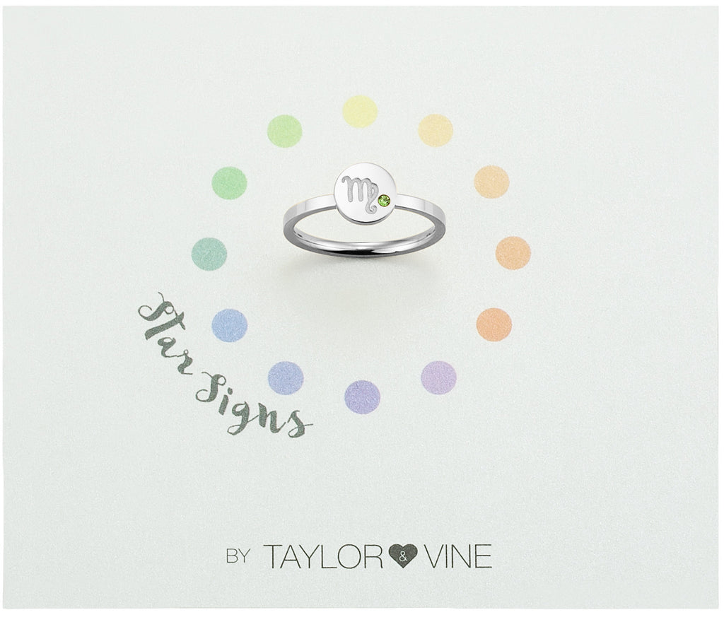 Taylor and Vine Star Signs Virgo Silver Ring with Birth Stone