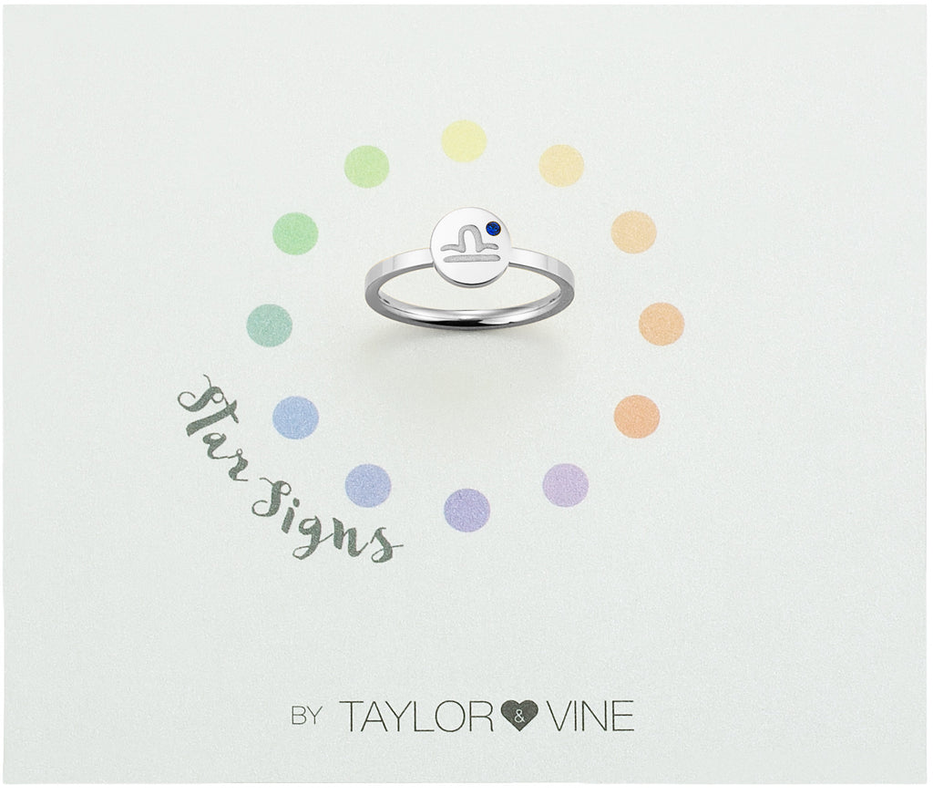 Taylor and Vine Star Signs Libra Silver Ring with Birth Stone
