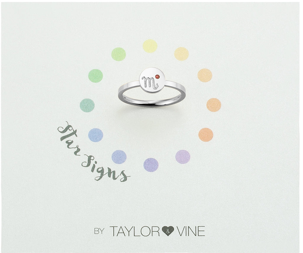 Taylor and Vine Star Signs Scorpio Silver Ring with Birth Stone
