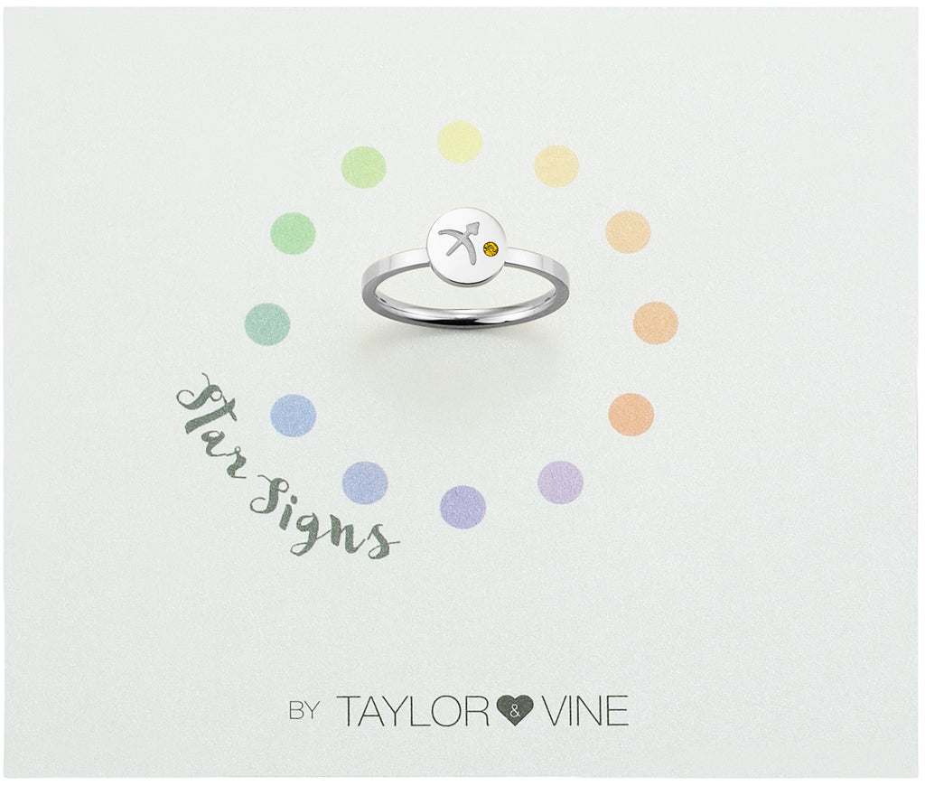 Taylor and Vine Star Signs Sagittarius Silver Ring with Birth Stone