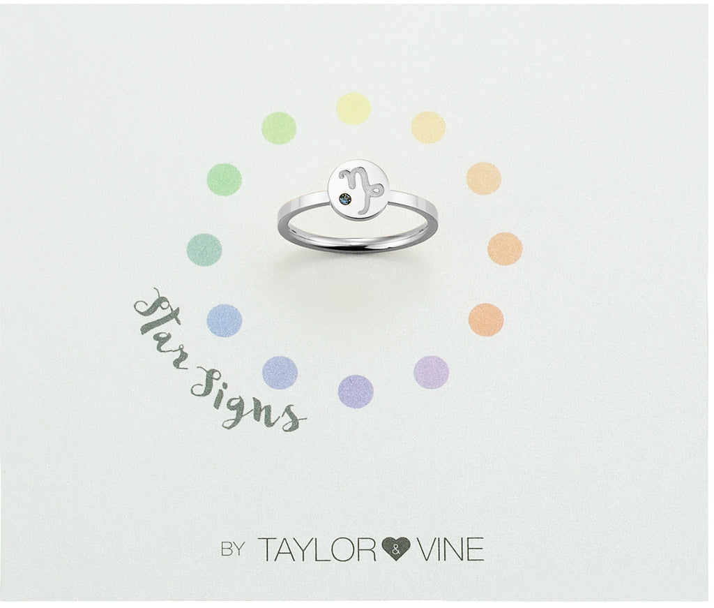 Taylor and Vine Star Signs Capricorn Silver Ring with Birth Stone