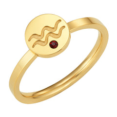 Star Signs Aquarius Horoscope ring with CZ Garnet Birth Stone Gold