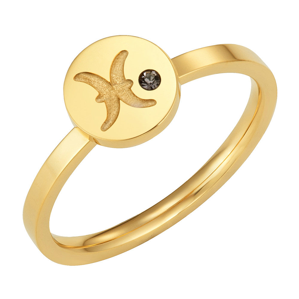 Taylor and Vine Star Signs Pisces Gold Ring with Birth Stone 1