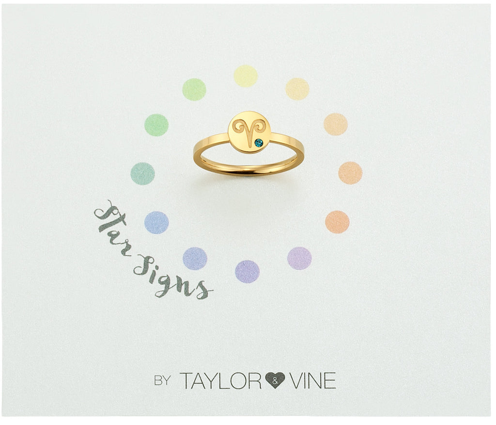 Taylor and Vine Star Signs Aries Gold Ring with Birth Stone