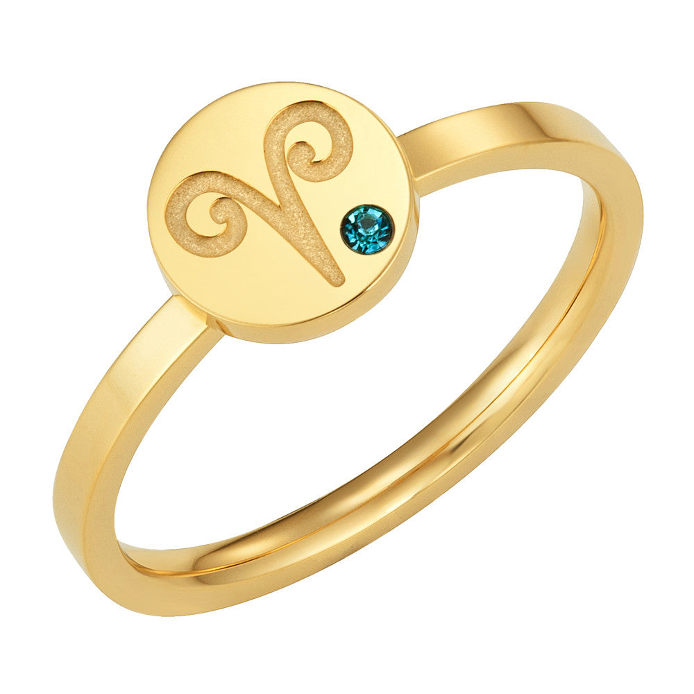 Taylor and Vine Star Signs Aries Gold Ring with Birth Stone 1
