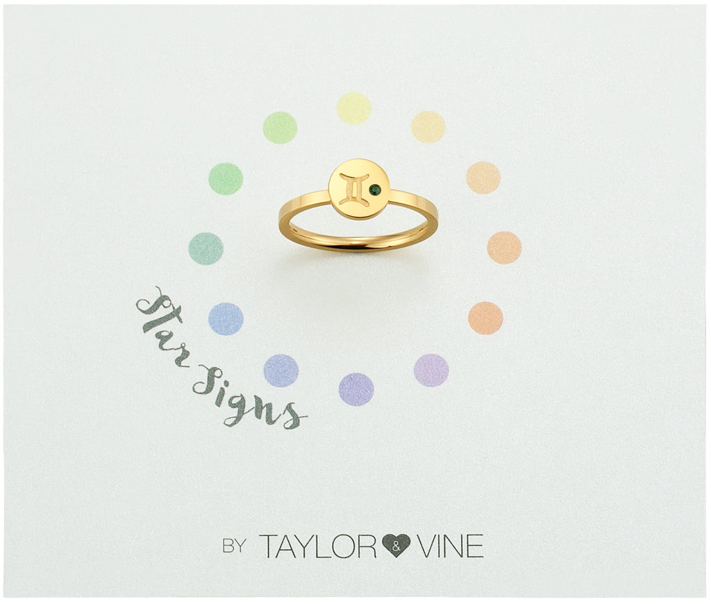 Taylor and Vine Star Signs Gemini Gold Ring with Birth Stone