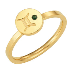 Star Signs Gemini Horoscope ring with CZ Emerald Birth Stone Gold