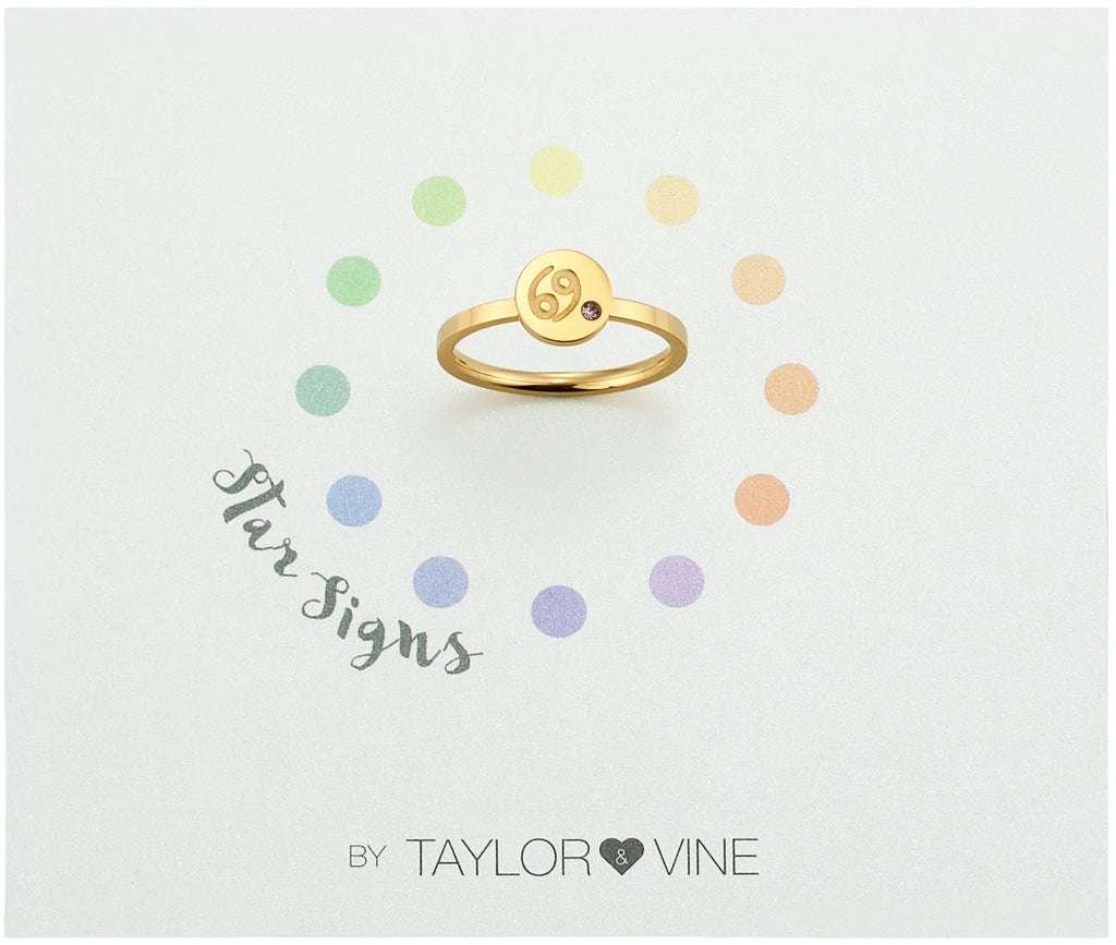 Taylor and Vine Star Signs Cancer Gold Ring with Birth Stone
