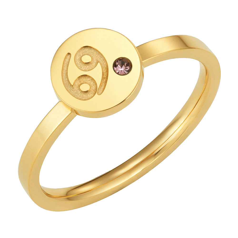 Taylor and Vine Star Signs Cancer Gold Ring with Birth Stone 1