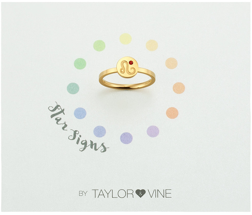 Taylor and Vine Star Signs Leo Gold Ring with Birth Stone