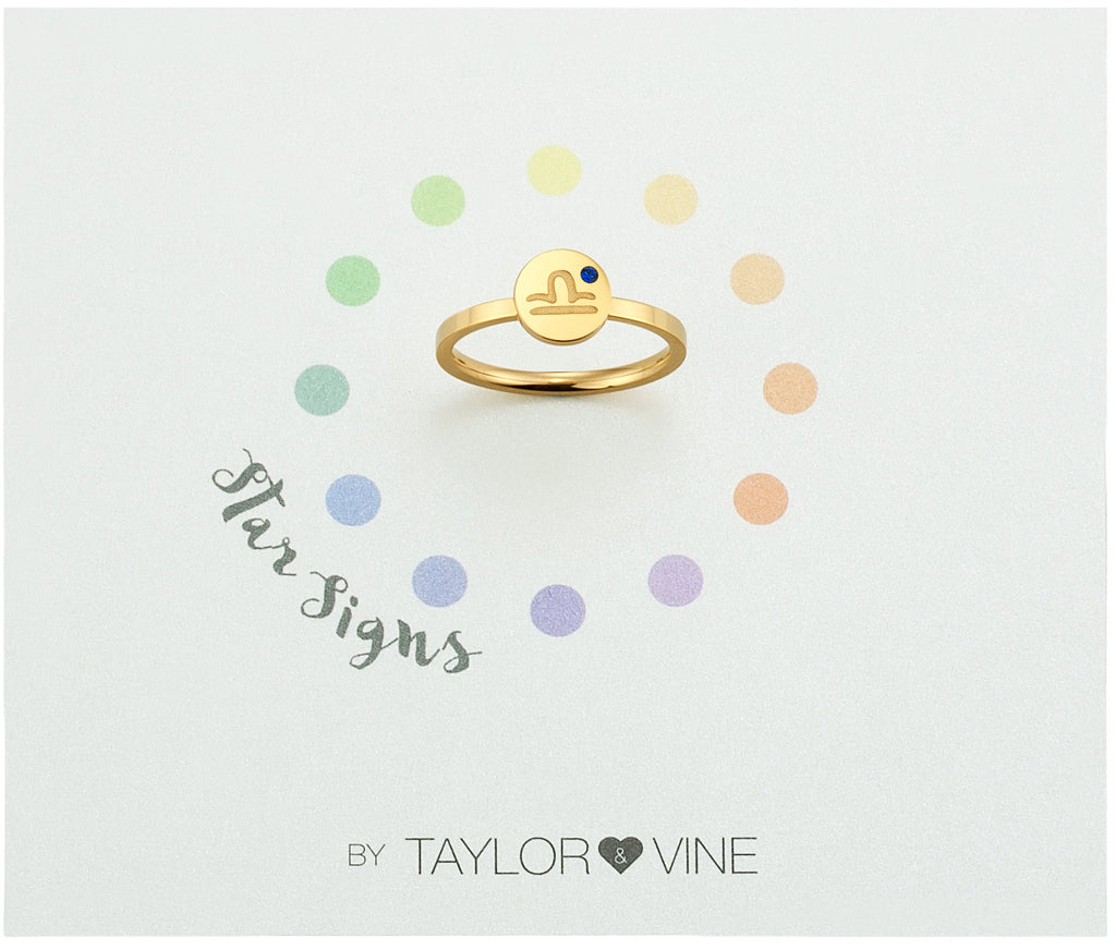 Taylor and Vine Star Signs Libra Gold Ring with Birth Stone