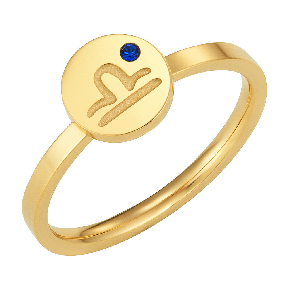 Taylor and Vine Star Signs Libra Gold Ring with Birth Stone 1
