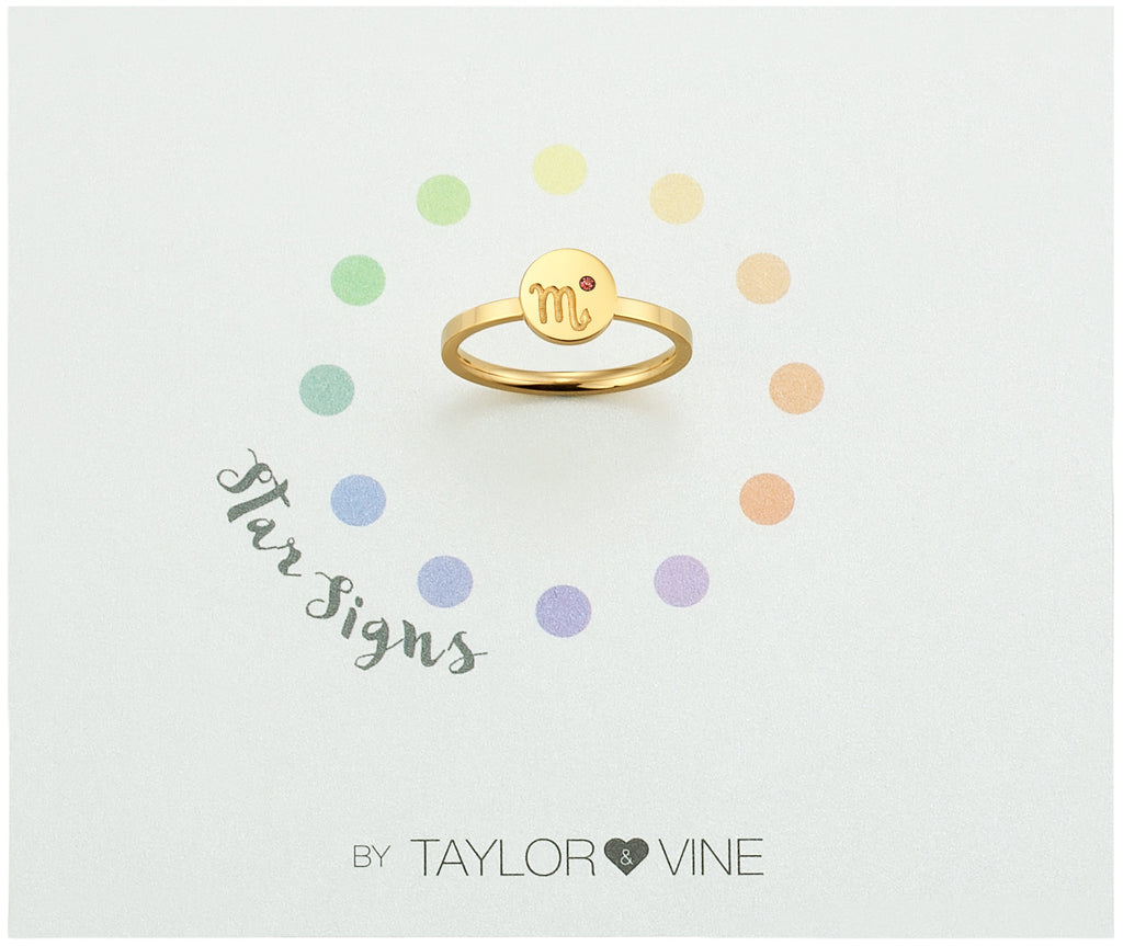 Taylor and Vine Star Signs Scorpio Gold Ring with Birth Stone
