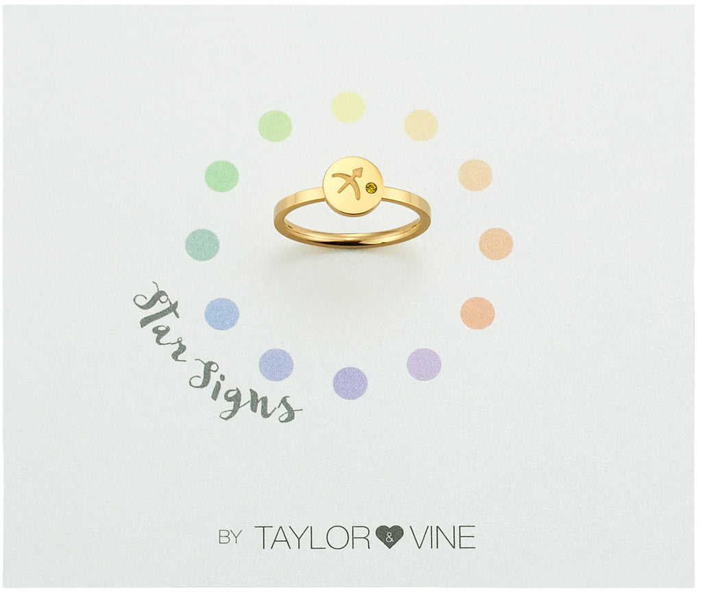 Taylor and Vine Star Signs Sagittarius Gold Ring with Birth Stone