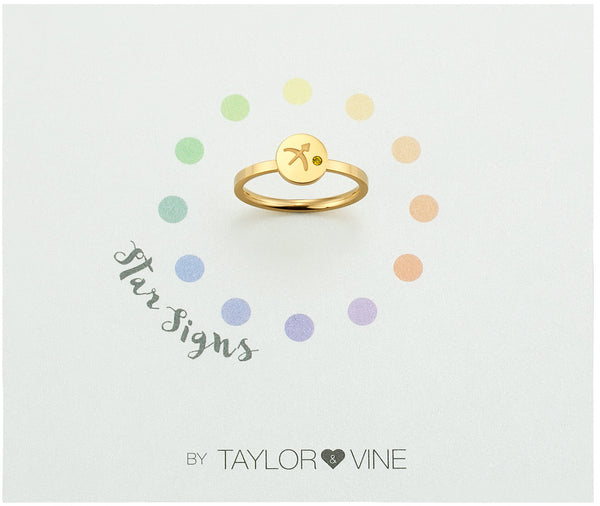 Star Signs Sagittarius Horoscope ring with CZ Topaz Birth Stone Gold