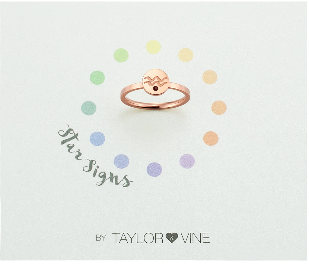 Taylor and Vine Star Signs Aquarius Rose Gold Ring with Birth Stone