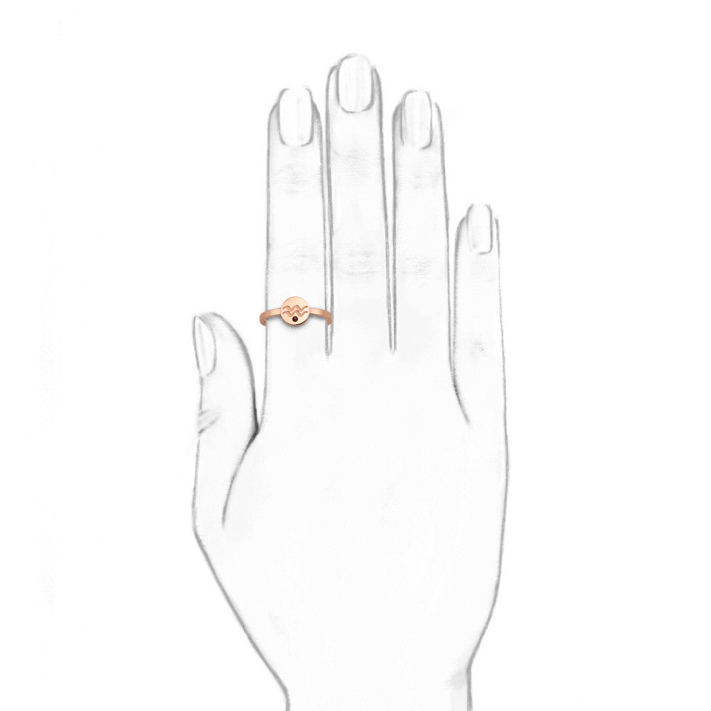 Taylor and Vine Star Signs Aquarius Rose Gold Ring with Birth Stone 2