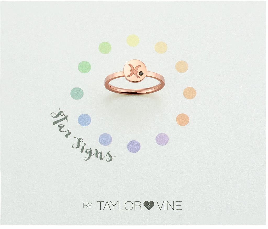 Taylor and Vine Star Signs Pisces Rose Gold Ring with Birth Stone