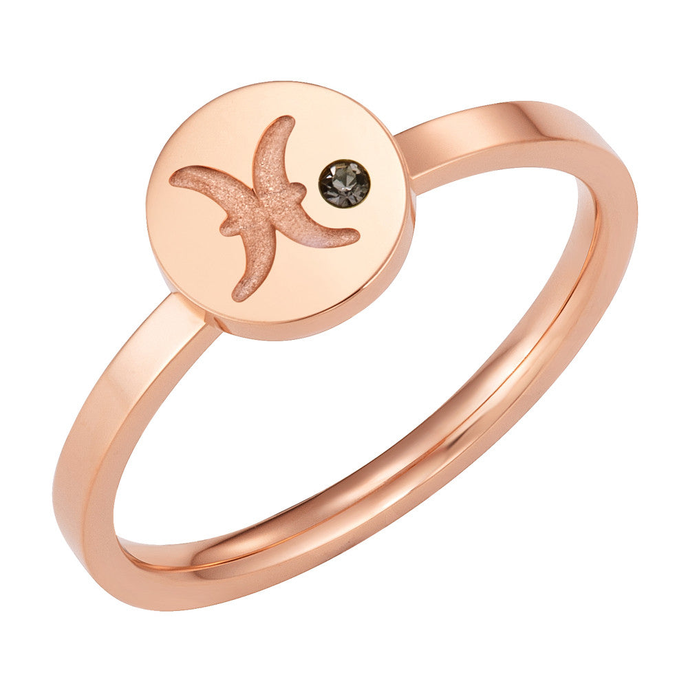 Taylor and Vine Star Signs Pisces Rose Gold Ring with Birth Stone 1