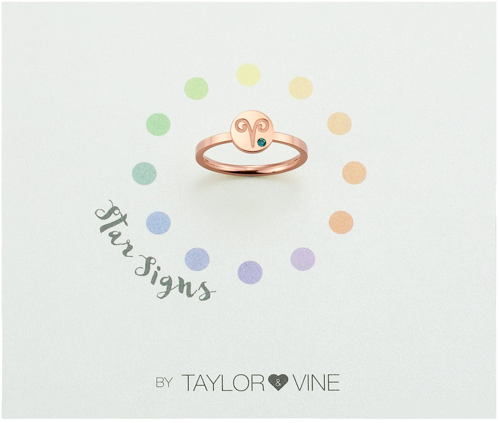 Taylor and Vine Star Signs Aries Rose Gold Ring with Birth Stone