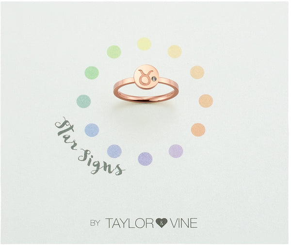Star Signs Taurus Horoscope ring with CZ Crystal Birth Stone Rose Gold