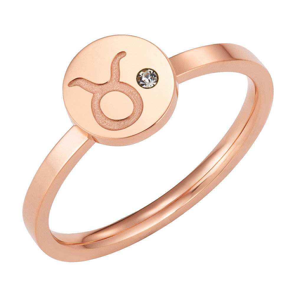Taylor and Vine Star Signs Taurus Rose Gold Ring with Birth Stone 1