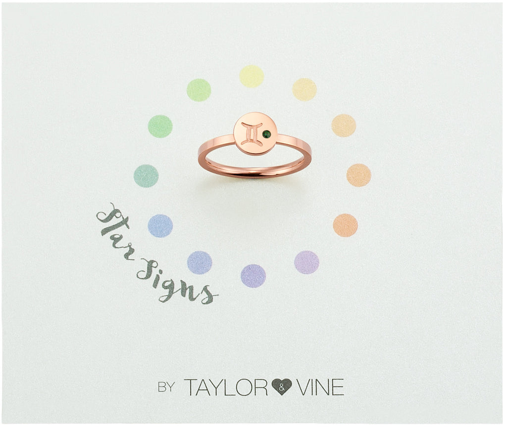 Taylor and Vine Star Signs Gemini Rose Gold Ring with Birth Stone