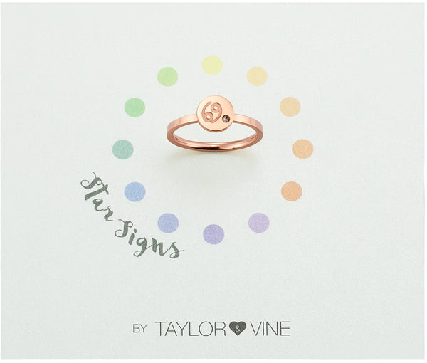Star Signs Cancer Horoscope ring with CZ Light Amethyst Birth Stone Rose Gold