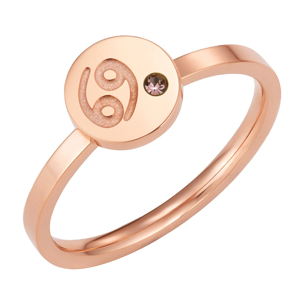 Taylor and Vine Star Signs Cancer Rose Gold Ring with Birth Stone 1