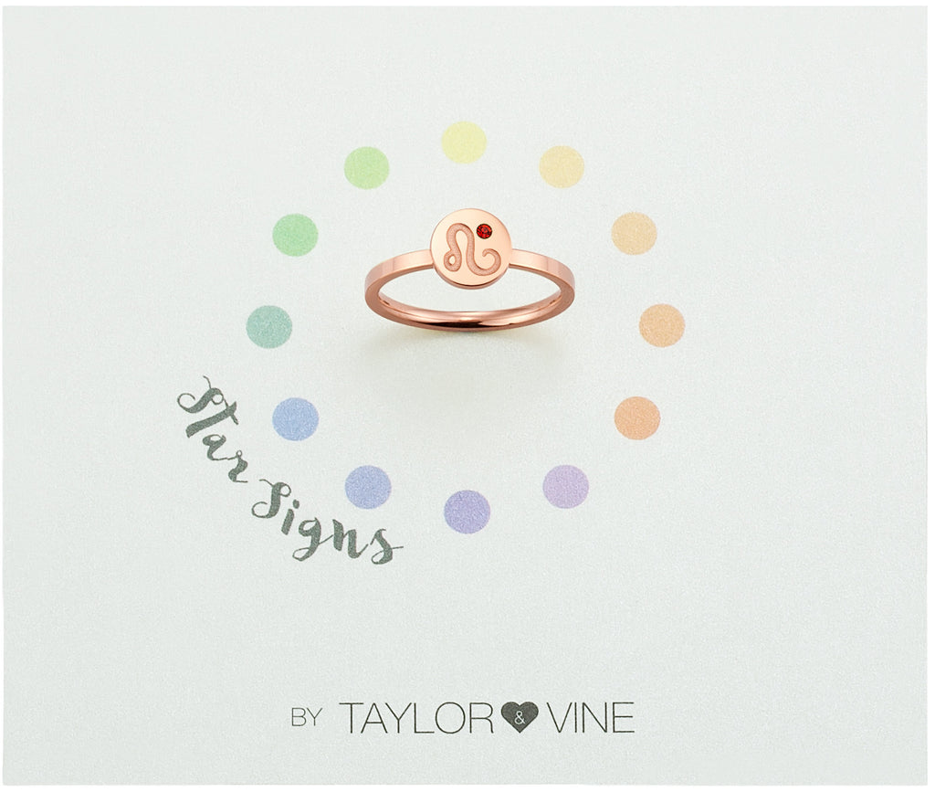 Taylor and Vine Star Signs Leo Rose Gold Ring with Birth Stone
