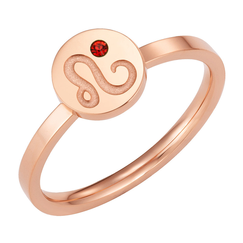 Taylor and Vine Star Signs Leo Rose Gold Ring with Birth Stone 1