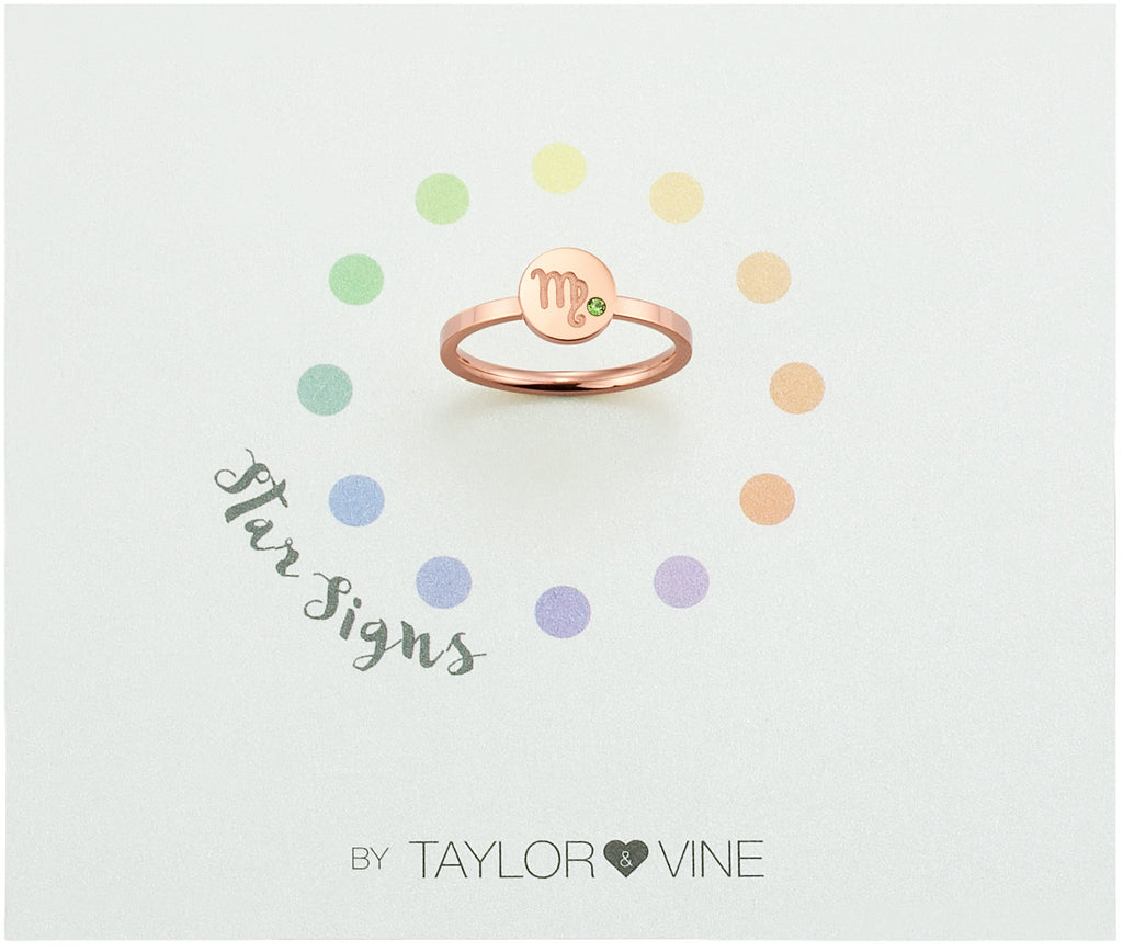 Taylor and Vine Star Signs Virgo Rose Gold Ring with Birth Stone