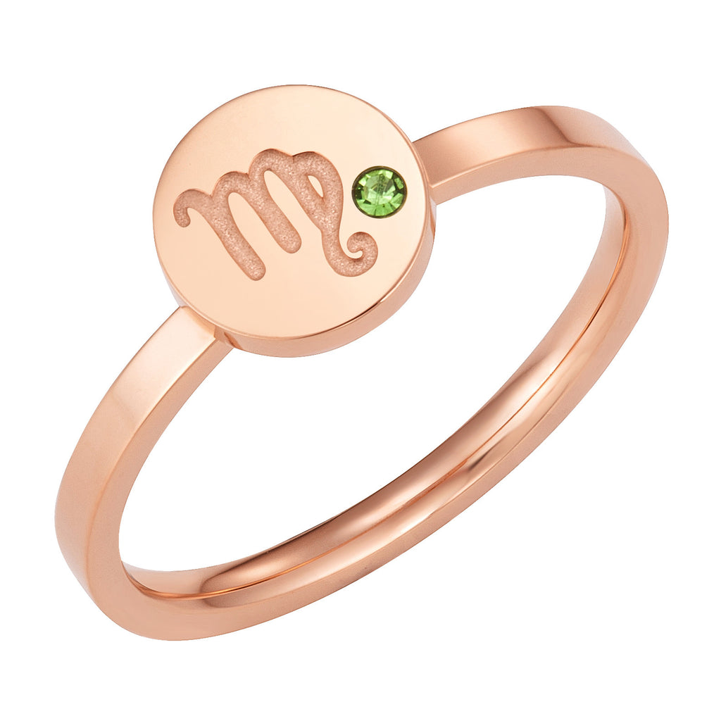 Taylor and Vine Star Signs Virgo Rose Gold Ring with Birth Stone 1