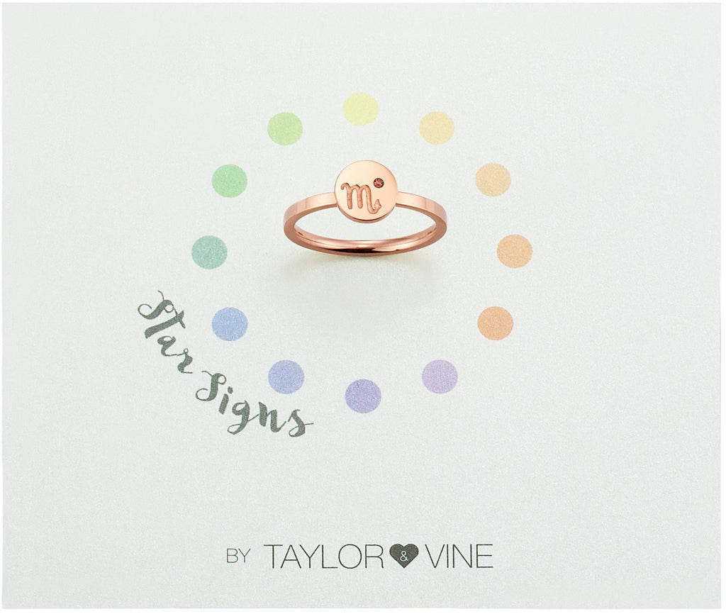 Taylor and Vine Star Signs Scorpio Rose Gold Ring with Birth Stone