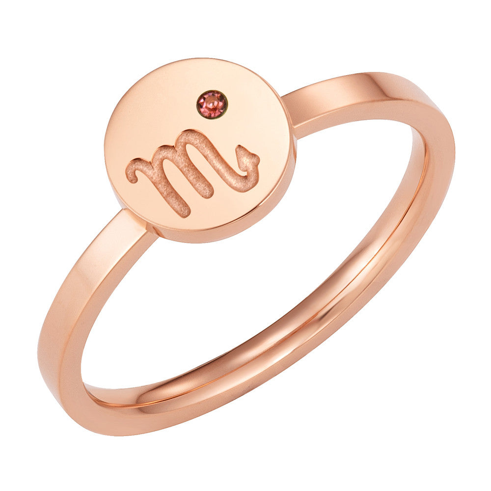 Taylor and Vine Star Signs Scorpio Rose Gold Ring with Birth Stone 1