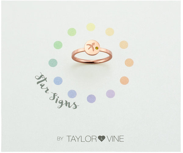 Star Signs Sagittarius Horoscope ring with CZ Topaz Birth Stone Rose Gold