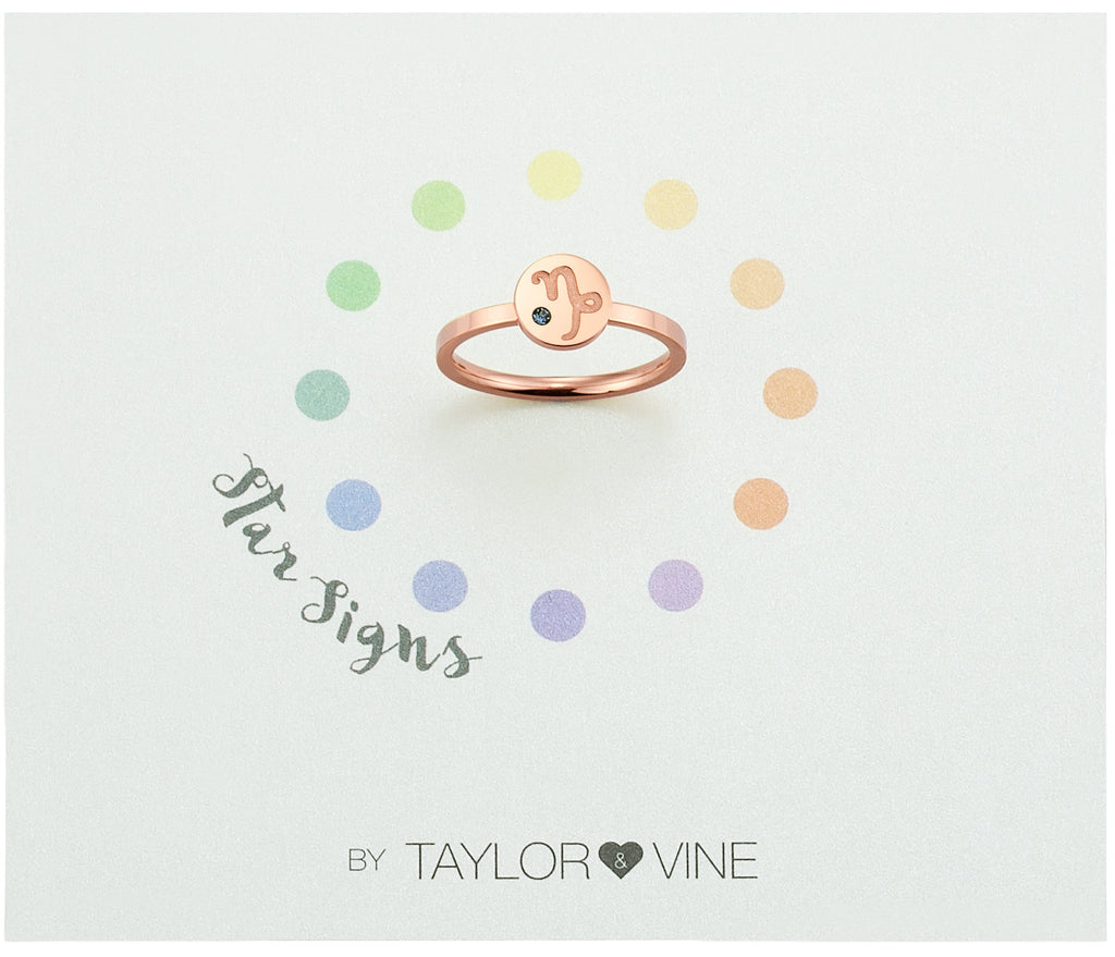 Taylor and Vine Star Signs Capricorn Rose Gold Ring with Birth Stone