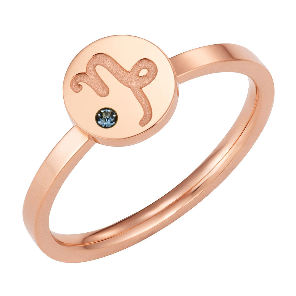 Taylor and Vine Star Signs Capricorn Rose Gold Ring with Birth Stone 1