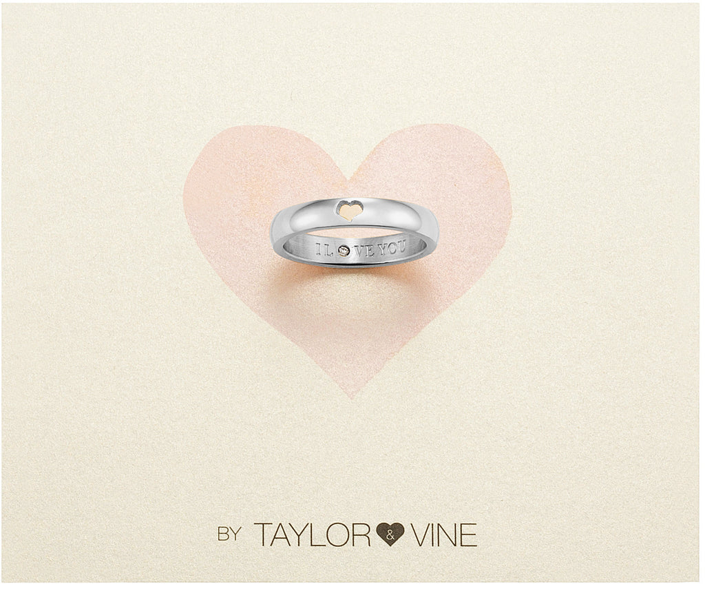 Taylor and Vine Secret Love Stones SIlver Heart Ring Engraved I Love You