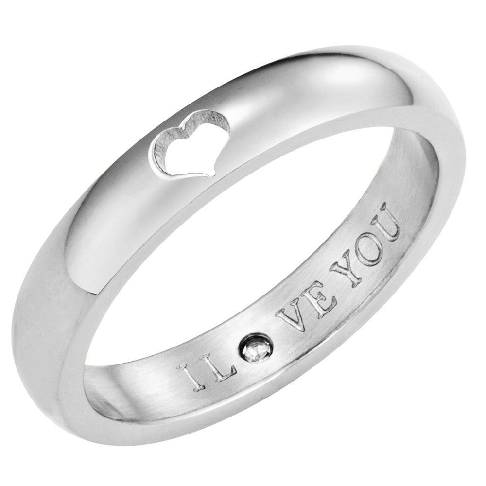 Taylor and Vine Secret Love Stones SIlver Heart Ring Engraved I Love You 1