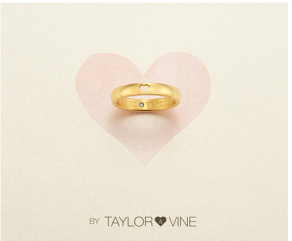 Taylor and Vine Secret Love Stones Gold Heart Ring Engraved I Love You