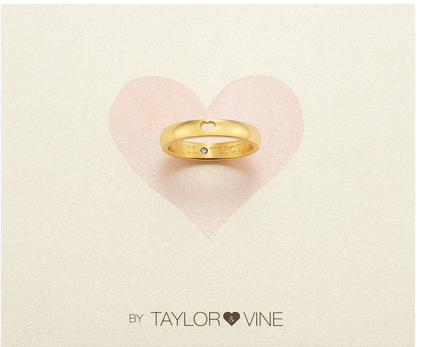 Secret Love Stones Heart Ring engraved I Love You with CZ, Gold
