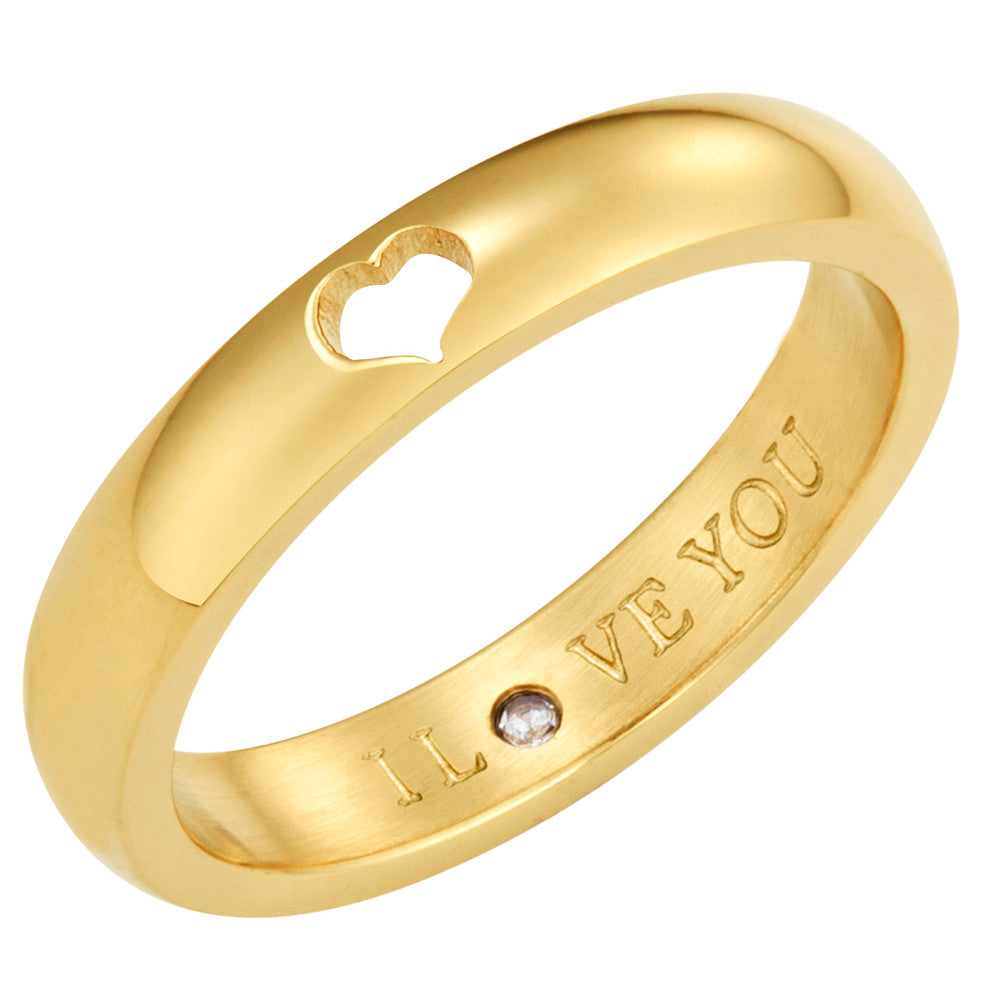 Taylor and Vine Secret Love Stones Gold Heart Ring Engraved I Love You 1